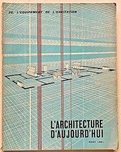 L'architecture d'aujourd'hui n 36 1951 Rivista L'equipement de l'habitation raro