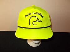 VTG-1980s Ducks Unlimited yellow neon nylon hunting rope style snapback hat sku4