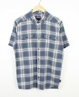 Patagonia Mens Short Sleeve Lightweight Cotton Blue Checkered Shirt - Size M
