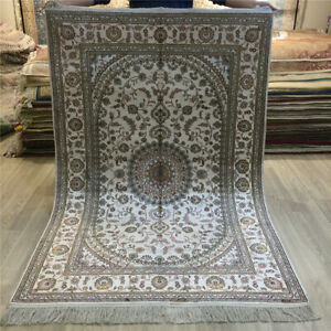 YILONG 4'x6' Hand Woven Carpets White Hand Knotted White Silk Area Rugs 028C