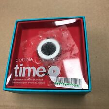 New Pebble Time Round 14mm Band Android iOS Smartwatch Silver/Red Leather Watch