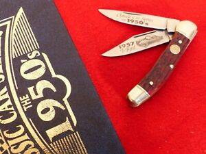 "Boker Germany 3.75"" red Bone 1957 Thunderbird Copperhead Knife MINT IN BOX"