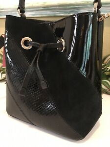 KATE SPADE EVA SMALL BUCKET SHOULDER TOTE BAG CROSSBODY BLACK LEATHER SUEDE $359