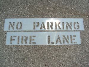 """4"""" NO PARKING and FIRE LANE Parking Lot Stencils for Vertical Curb 1/16"""", 60 Mil"""
