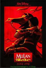 MULAN MOVIE POSTER 27x40 Double Sided Advance Style 1998 DISNEY ANIMATION