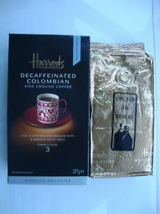 HARRODS DECAFFEINATED COLOMBIAN FINE GROUND COFFEE 227G - SEALED EXP 2007-