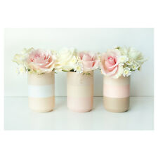 Timber Vases - Handcrafted and Handpainted - Set of Three - Ivory-Peach-White