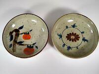 Set Of 2 Vintage Japanese Salad Soup Cereal Bowls Speckled Glaze Hand Painted