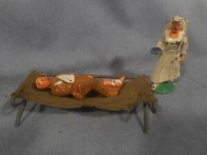 Vintage Metal Lead Toy Soldier #30 Wounded Manoil Barclay & Nurse is unmarked
