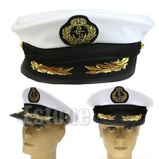 Adult Yacht Boat Captain Party Cosplay Dress Costume Navy Cap Sailor Hat White