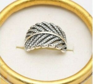 GENUINE  SILVER S925  SPARKLING LIGHT AS A FEATHER RING SIZE 60 SALE LIMITED QTY