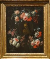 17th Century Dutch Old Master Still Life Flowers Stature Antique Oil Painting