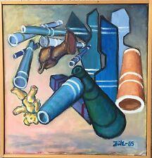 BLAUE DYNAMIK - KOMPOSITION - ERIK DITLEVSEN - 1985 ÖLGEMÄLDE MODERN DANISH ART