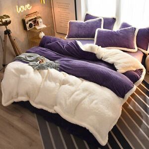 Autumn Winter Fleece Bedding Set 4pcs Solid Flannel Warm Duvet Cover Sheets