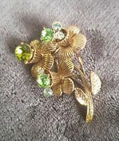 Vintage Brooch gold tone green rhinestone floral spray bouquet pin