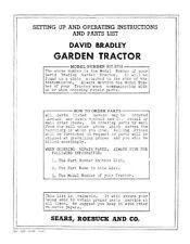 David Bradley 9175752 Garden Tractor Operator Amp Service Parts Manual 1949