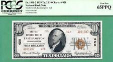 FANCY SERIAL 1929 $10 NBN - FIRST NAT BANK EASTHAMPTON, MASS - PCGS GEM 65 PPQ