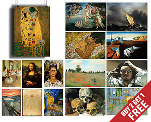 FAMOUS PAINTERS POSTERS , Classic Paintings Fine Art Prints For Home Decor A3 A4