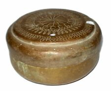 Vintage Original Old Beautiful Hand Carved Brass Chapatti Bread Box. G66-532 US