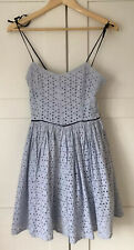 KATE MOSS TOPSHOP BLUE WHITE STRIPE COTTON 50s SUNDRESS SIZE 6 GOOD CONDITION