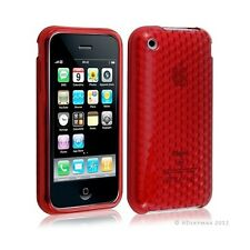 Housse coque etui gel damier transparent pour Apple Iphone 3G/3Gs couleur rouge