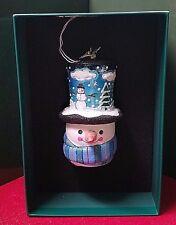 Reed & Barton European Glass Ornament Snowman And Hat W/ Swarovski Crystal
