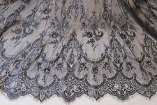 "Black French Chantilly Bridal Lace Fabric Wedding Embroidery Eyelash Lace118""/pc"