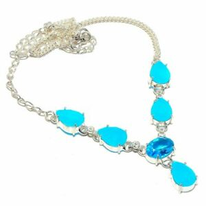 "Blue Topaz  Chalcedony Gemstone 925 Sterling Silver Jewelry N-1 Necklace 18"""