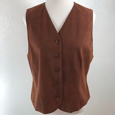 Vtg 90's Pendleton Faux Suede Vest Size 14 Vegan Made In Usa Androgyny Hippie