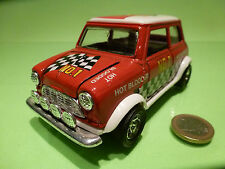 VINTAGE MORRIS MINI COOPER - HOT BLOODED - RED 1:24? RHD - RARE - GOOD PULLBACK