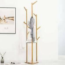 Natural Bamboo Coat Rack Stand Clothes Hanger Hat Jacket Bag Umbrella Scarf Hook