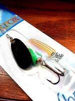 Vintage Blue Fox Vibrax 3/16 oz. Green Body & Black Blade Size 2 Fishing Spinner