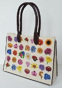 FLOWER DESIGN CANVAS SHOPPING / TOTE BAG. NEW.