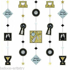 5 Happy New Years Gold Cheers Toast Party Hanging Glitter String Decorations