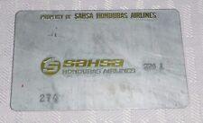 Rare Vintage SAHSA Honduras Airlines Metal Ticket Validation Plate Travel