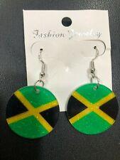 JAMAICA BLACK YELLOW & GREEN GLITTER FLAG FASHION JEWELLERY EARRINGS 3cm