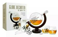 Whiskey Decanter Set World Etched Globe Decanter Antique