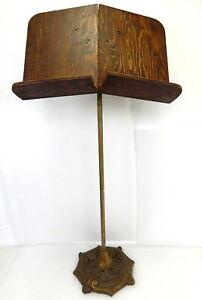 Antique art nouveau sheet music stand cast iron wood