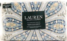 RALPH LAUREN Full/Queen Duvet Cover Set 3 Piece Blue Paisley