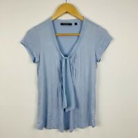 Basque Womens Top Size 6 Blue Short Sleeve Good Condition