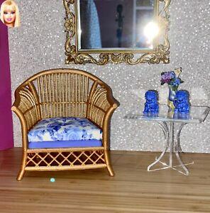 1:6 Dollhouse cane rattan armchair Blue Roses - Barbie scale