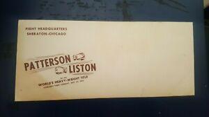Vintage Boxing Envelope: Floyd Patterson v Sonny Liston. Sealed. 1962. Chicago.
