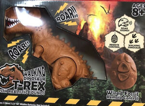 Remote Controlled BROWN T-Rex Dinosaur RC Toy Lifelike movement Walking w