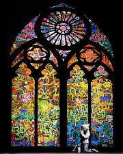 Banksy Stained Glass Window Boy Praying graffiti street art on Canvas ACEO