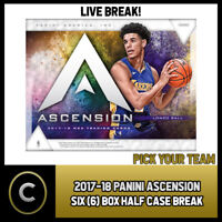2017-18 PANINI ASCENSION 6 BOX HALF CASE BREAK #B030 - PICK YOUR TEAM -