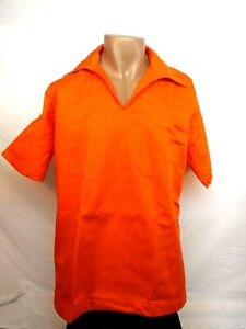 Inmate uniform pullover safety orange shirt, security staff, costume, small rare