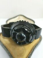 ANTIQUE. VICTORIAN  WHITBY JET LOVELY  ROUND CARVED CAMEO BRACELET GOTH MOURNING