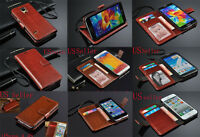 Genuine Real Leather Flip Wallet Case Cover for Smartphone