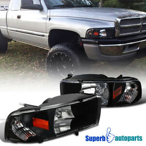For 1994-2001 Dodge Ram 1500 94-02 2500 3500 1PC Headlights Black Lamps Pair