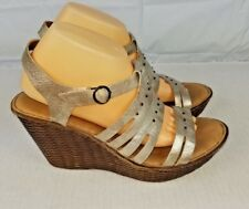 Born womens 11 pewter strap woven wedges platform heels shoes